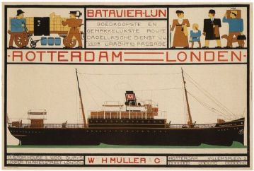 Vintage Dutch shipping poster -  Rotterdam to London 1915